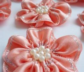 Handmade Peach Ribbon Flower Appliques Embellishments (6pcs)