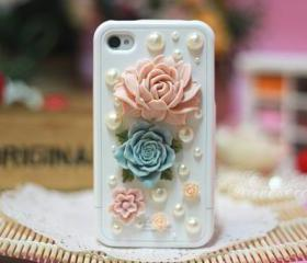 Cute iPhone 4 case, floral iPhone case, flowers pearl iPhone 4/4s case, unique iPhone 4 case cover