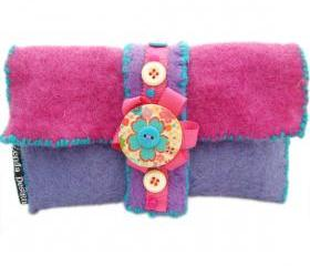 Purple Felt purse/glasses case