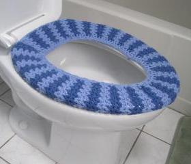 Crochet Toilet Seat Cozy - blue bell/denim (CTSC2)