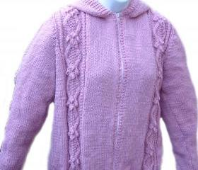 womens Aran cardigan - hooded Top