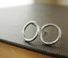  Silver circle studs, textured and oxidized