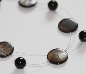 Charcoal shell disc floating multistrand chunky illusion necklace