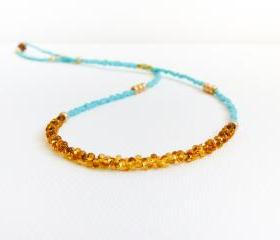 Turquoise gold topaz tiny seed beads necklace,