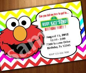 ELMO COOKIE MOSTER SESAME STREET BIRTHDAY PARTY INVITATION Uprint Digital