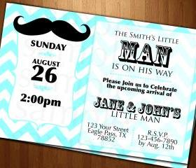 BABY shower little man Mustache INVITATION CARDS CUSTOM INVITES PARTY printable