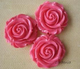 3PCS - Large Rose Cabochons - Honeysuckle Pink - 31mm - ZARDENIA