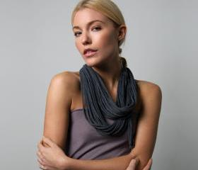 Infinity Scarf Necklace - Charcoal Grey - Necklush