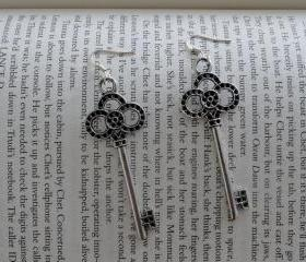 Silver Key Earrings - Hook Earrings - Gift