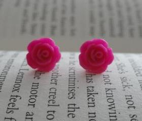 Hot Pink Rose Stud Earrings - Flower Stud Earrings