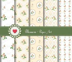 White Pink Flowers Scrapbooking Digital Paper Pack - Wedding - Baby Showers - Decoupage - Cardmaking