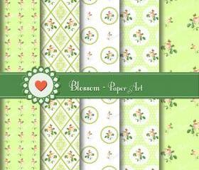 Vintage Flowers Digital Scrapbooking Paper - Green - Shabby Chic - Download Image - Cardmaking - Wedding - Decoupage