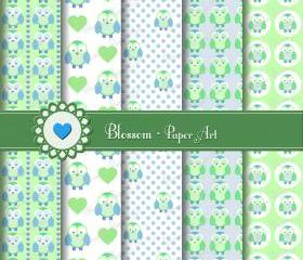 Owls Digital Scrapbooking Paper - Baby Shower - Light Blue Green - Cardmaking - Handmade Stationary - Baby Birthday