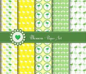 Flamingo Green Yellow Digital Scrapbooking Paper - Cardmaking - Decoupage - Collage Sheet - Download Images - Blossom Paper Art