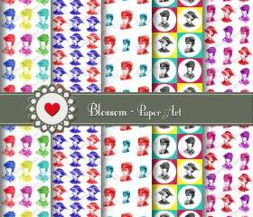 Pop Digital Patterned Paper - Vintage Women - Cardmaking - Handmade Stationery - Decoupage - Collage Sheet - Printable Paper