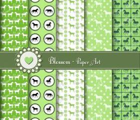 Green Horses Scrapbooking Digital Paper - Scrapbook - Collage Sheet - Printables - Decoupage - 12x12 inches - 300 dpi - Blossom Paper Art