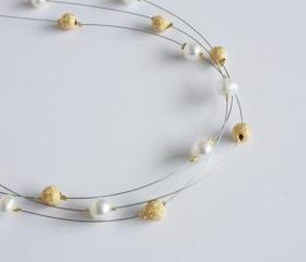 Ivory freshwater pearl and gold stardust beads floating multi strand illusion necklace- Athena