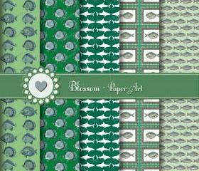  Digital Scrapbooking - Green and Blue Vintage Fishes - Shark - Sea - Ocean - Blossom Paper Art