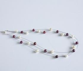Ivory and burgundy freshwater pearl illusion necklace - Aphrodite