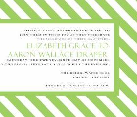 Green Stripe Wedding Invitation (set of 10)