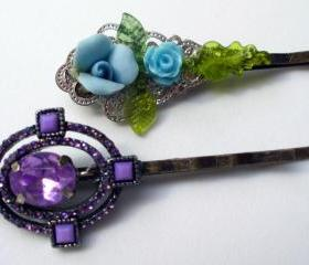 hair jewelry 2 floral pins in purple and turquoise