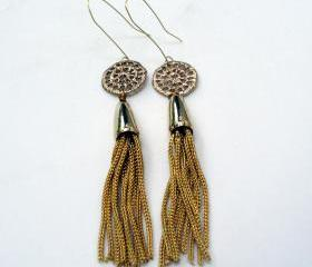 bronze and gold tassel earrings