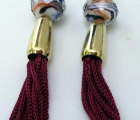 burgandy tassel earrings