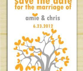 Grey and Orange Save the Date Tree Invitation (set of 10)