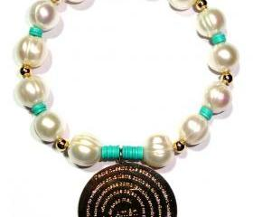 Fresh water Pearls Bracelet accentuated by a gold Filled(Padre Nuestro