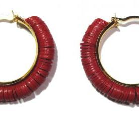 Tribal Chic earrings accentuated by Red antique Vinyl Disc Beads