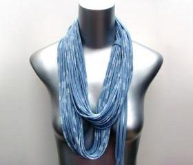 Infinity Scarf Nautical Blue Ocean White Stripe Womens Striped Circle Necklace Scarves Loop Eternity Fabric Jewelry unique Tribal Bohemianl