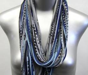 Royal Blue Saphire Infinity Scarf Summer mens necklace Womens Blue Jersey Circle Scarves Winter Chunky Eternity Fashion Dark Grey Black