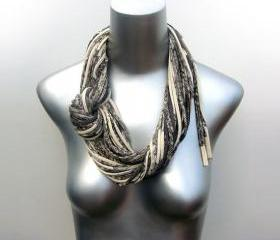 Womens Infinity Boho Scarf Grey White Scarves Hipster Circle Necklace Infinity Loop Eternity Organic Cream Fabric Jewelry Tribal Bohemian