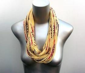 Infinity Scarf Boho Yellow Scarves Womens Circle African Necklace Loop Eternity Organic Fabric Jewelry unique Tribal Statement Neckpieces