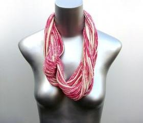Pink Scarf Infinity Cotton Magenta White Eco-Friendly Clothing Circle Necklace Scarves Loop Eternity Organic Fabric Jewelry Tribal Bohemian