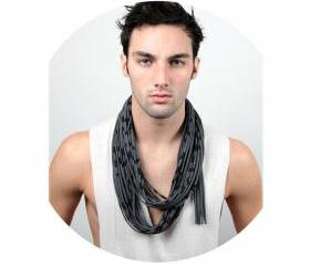 Infinity Scarf Mens Hipster Stripe Circle Boho Necklace Scarves Loop Eternity Titanium Grey Black Fabric Jewelry unique Tribal Bohemian