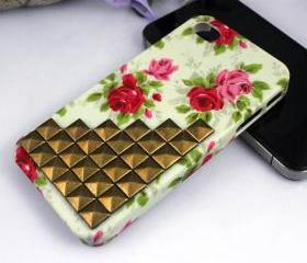 Cute iphone 4 cases - floral iPhone 4s case, punk antique bronze pyramid studs iPhone 4 case, studded iPhone case