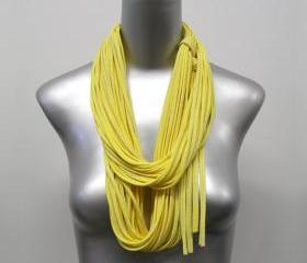 Pastel Canary Yellow Cotton Infinity Scarf Womens Mens Circle Necklace Scarves Eternity White Fabric Jewelry Uniqe Tribal Bohemian Statement
