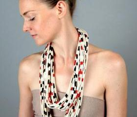 Eternity Scarf Boho Fashion Summer Red Apple Black Stripe Infinity Cotton Circle Necklace Scarves Loop Fabric Jewelry unique Tribal Bohemian