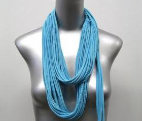 Pastel Blue Infinity Scarf White Circle Necklace Scarves Eternity Fabric Jewelry unique Tribal Bohemian Statement Neck Wear Designer Loops