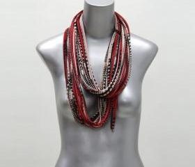 Infinity Boho Scarf Cotton Red Black Geometric Necklace Jersey Circle Scarves Jewelry Man Man Summer Winter Eternity Fabric Jewelry Tribal
