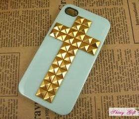 Studded iPhone 4 case, iPhone 4s case stud cross, custom iPhone case designer iPhone 4 cases