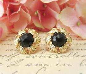 Vintage Black Gem Flower Earrings, Studs, Clip on, Bridesmaid Earrings, Floral Earrings