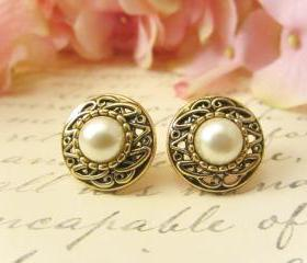 Antique Gold Pearl Earrings, Vintage Button Earrings, Vintage earrings, Pearl Earrings, Studs, Clip on, post, earrings, bridesmaid earrings
