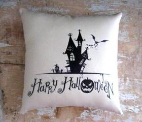 Halloween Pillow, Halloween Decoration, Haunted House, Happy Halloween, Pumpkin, Bats