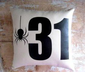 Halloween Pillow, Spider, Halloween Decoration, October 31, Silhouette