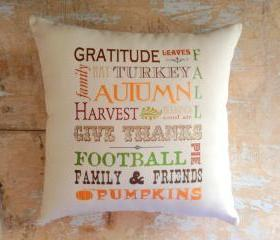 Autumn Pillow, Fall, Football, Thanksgiving, Fall Decor, Autumn Decor, Subway Art