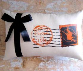 Halloween Pillow, Witch, Stamp, Halloween Decor