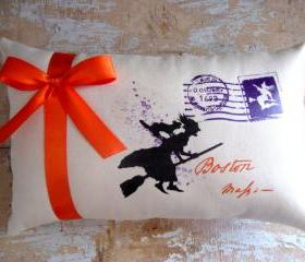 Halloween Pillow, Witch, Broom, Black Cat, Halloween Decoration