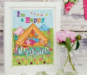 A4 Unframed Illustration Print 'I'm A Happy Glamper'